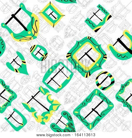 Vector seamless pattern of different vintage decorative metal buckles for belts and clothing. Thin line buckles on white background.