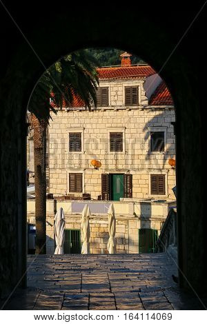 View Through Kopnena Vrata (land Gate) In Korcula Old Town, Croatia