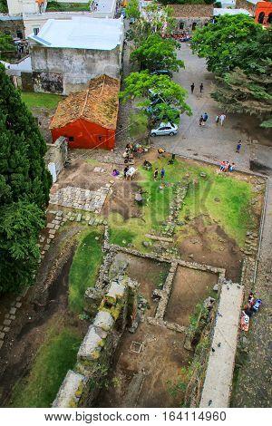 Aerial View Of Convent Of San Franciso Ruins In Colonia Del Sacramento, Uruguay