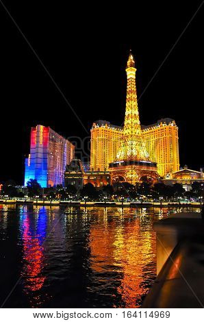 VEGAS NEVADA USA - January 11th 2016: Bally's and Paris hotels