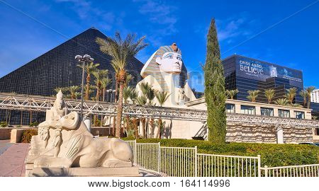 VEGAS NEVADA USA - January 11th 2016: Luxor pyramid sphinx egyptian statues and the an for
