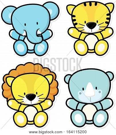 vector cartoon illustration of four baby safari animals isolated on white background ideal for children decoration