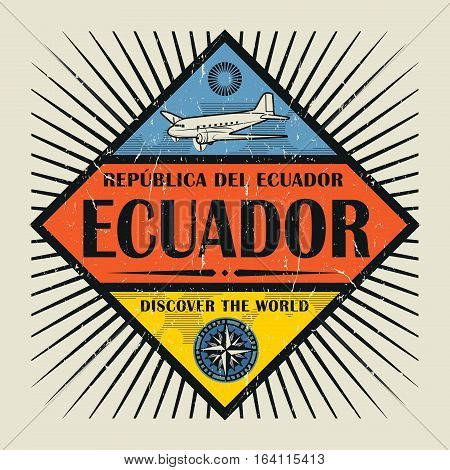 Stamp or vintage emblem with airplane compass and text Ecuador Discover the World vector illustration