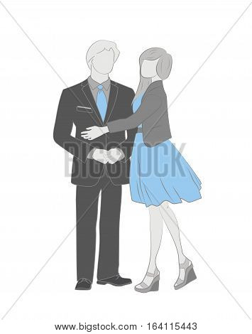 Man and woman are embracing. vector illustration.