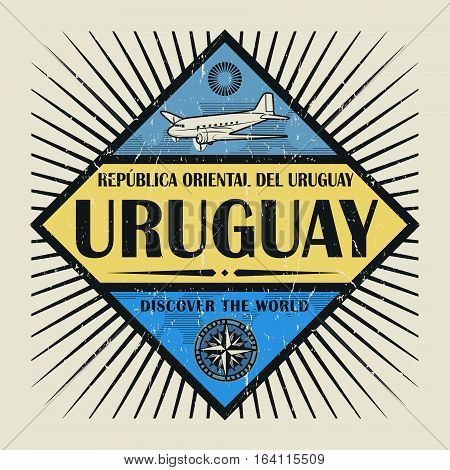 Stamp or vintage emblem with airplane compass and text Uruguay Discover the World vector illustration