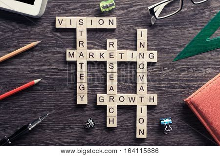 Marketing and business concept with crossword collected of wooden blocks