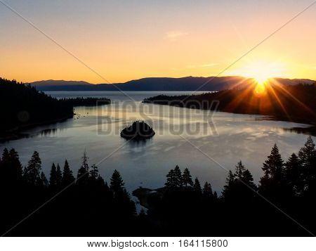 Sunrise Over Emerald Bay At Lake Tahoe, California, Usa.