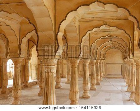 Sattais Katcheri Hall In Amber Fort Near Jaipur, Rajasthan, India
