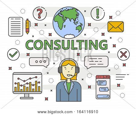 Vector Consulting service concept banner. Linear chart, graph. Consultant with speech bubbles. Thin line flat design infographic elements, symbols and icons for web, marketing and printing.