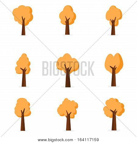 Various of tree set vector collection stock