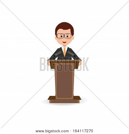 Businessman standing to speaking and presentation on podium with microphones Cartoon character Flat style vector illustration