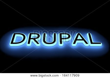 drupal in the form of a neon light 3D illustration