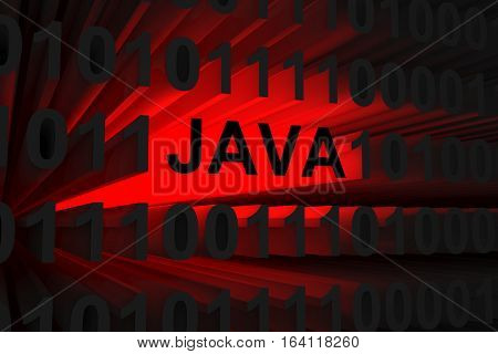 java in the form of a neon light 3D illustration