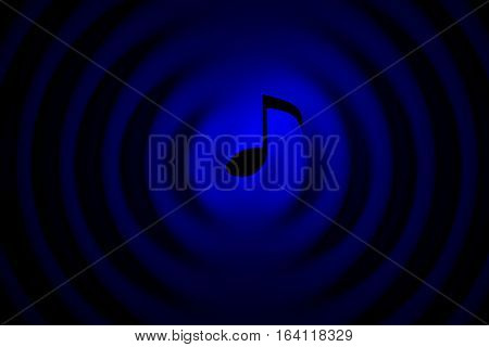 music note in neon with wave 3d illustration
