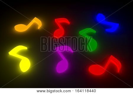 musical notes are represented in the form of a neon glow 3d illustration