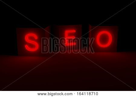 SEO presented in the form of a neon glow 3d illustration