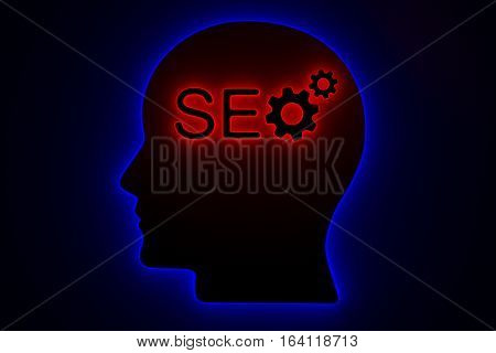 SEO Neon head gear in the form of a neon light 3d illustration
