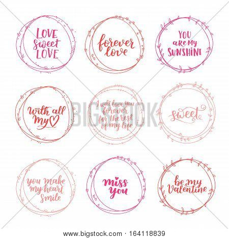 Valentines Day Vector Wreath Set. Romantic Floral Design For Your Inspiration. Rose Pink And Peachy