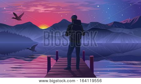 Vector illustration of a man on the pier admiring the sunset