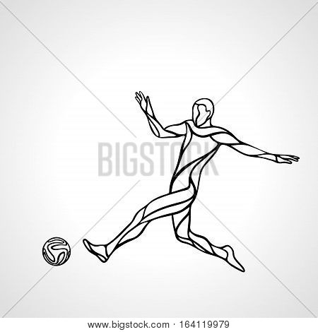 Soccer or football player kicks the ball. Abstract line art vector silhouette. Illustration on white background.