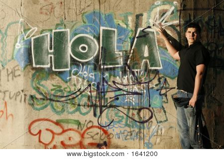Young Handsome Man & Graffiti