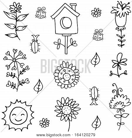 Vector flat of spring doodles collection stock