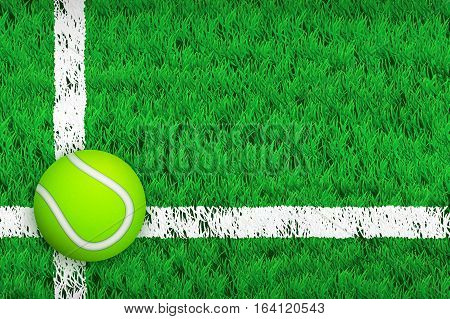 Tennis ball on Green Court grass field. Editable Vector illustration Isolated on background.