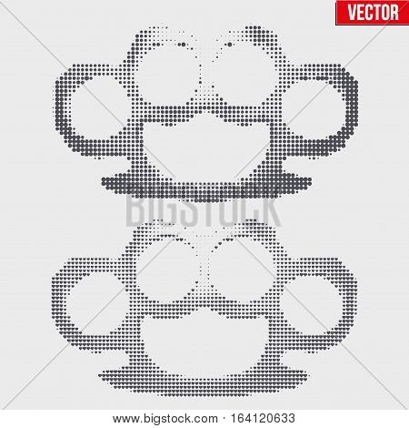 Brass knuckles in vintage halftone sketch style. Circle and heart pattern. Vector Illustration isolated on background.