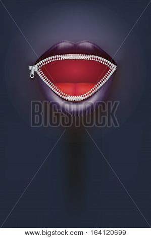 Night club Poster. Female mouth with zipper on dark Background. Party Invitation and flyers. Sexual woman. Vector Illustration.