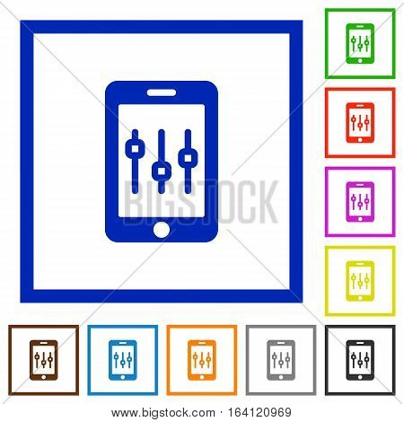 Smartphone tweaking flat color icons in square frames on white background