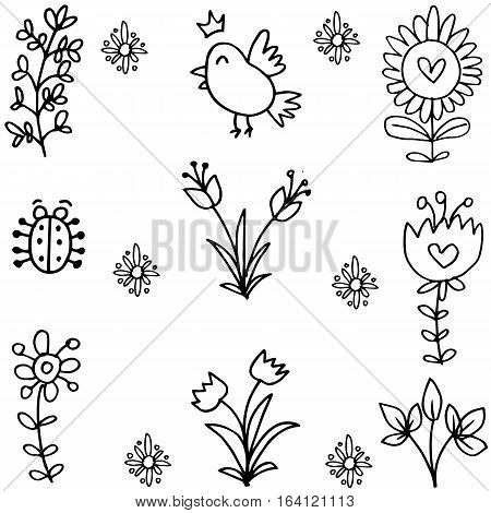 Illustration of spring doodles set collection stock