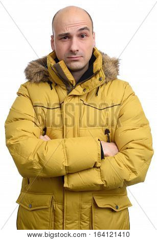 Confused Man Wearing Yellow Winter Jacket
