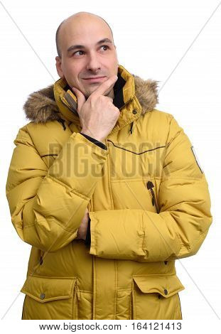 Bald Man Wearing A Yellow Winter Jacket