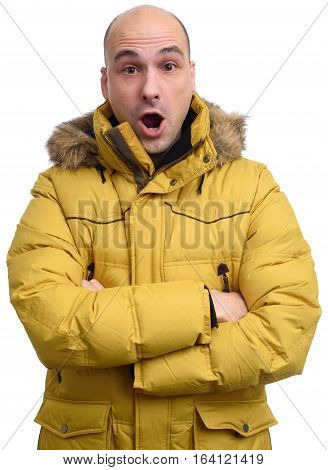 Surprised Dude Wearing A Yellow Winter Jacket