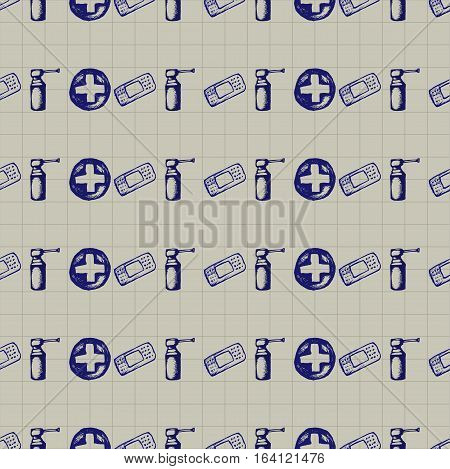 Healthcare and medicine. Vector doodle seamless pattern with pills, plaster and crosses. Medical hand drawn icons on checkered background.