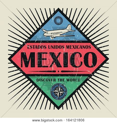 Stamp or vintage emblem with airplane compass and text Mexico Discover the World vector illustration
