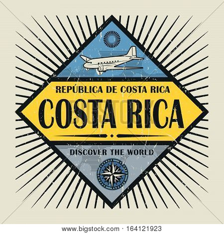 Stamp or vintage emblem with airplane compass and text Costa Rica Discover the World vector illustration