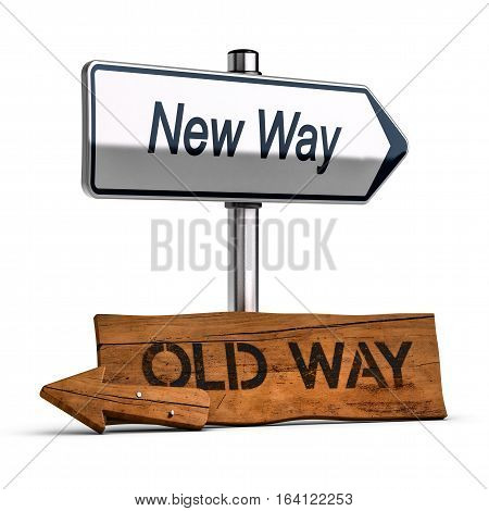 3D illustration of two roard signs with text old and new way Personal Development Concept