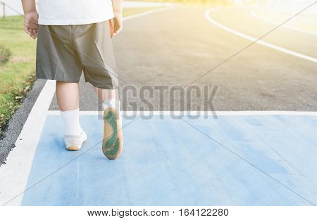 Obese Fat Boy Walking On Healthy Park