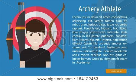 Archery Athlete Conceptual Banner   Great flat illustration concept icon and use for human, profession, athlete, work, event and much more.
