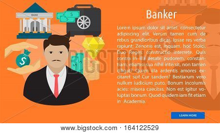 Banker Conceptual Banner | Great flat illustration concept icon and use for human, profession, athlete, work, event and much more.