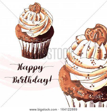 Hand drawn of tasty Cupcake. Happy birthday. Watercolor vector illustration.