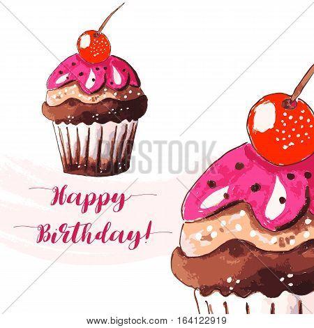 Hand drawn of tasty Cupcake Happy Birthday. Watercolor vector illustration.
