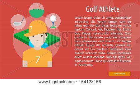 Golf Athlete Conceptual Banner   Great flat illustration concept icon and use for human, profession, athlete, work, event and much more.