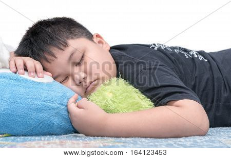 Fat Boy Sleep Isolated On White