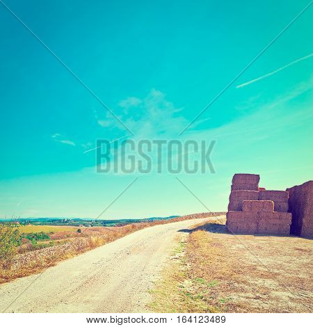 Briquettes of Dry Hay on a Field in Italy Instagram Effect