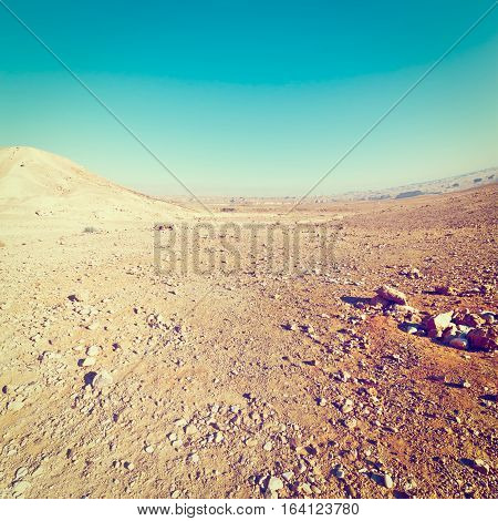 Rocky Hills of the Stone Desert in Israel Instagram Effect