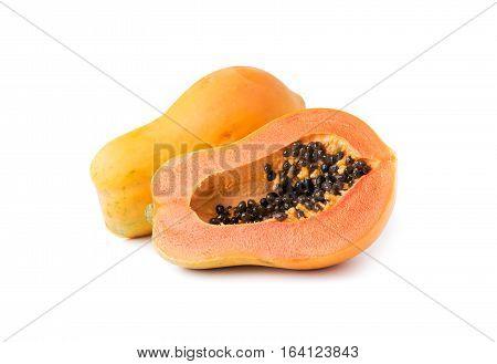 Sliced Papaya Fruit Isolated