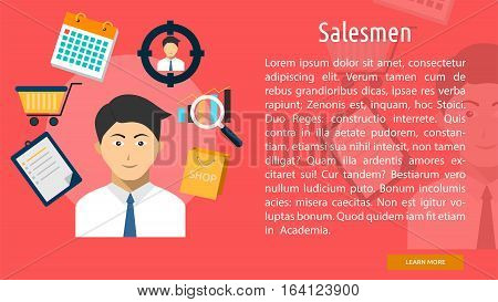 Salesman Conceptual Banner   Great flat illustration concept icon and use for human, profession, athlete, work, event and much more.
