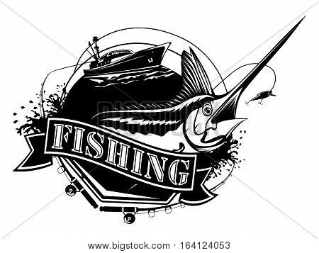 Black Marlin Fishing Isolated